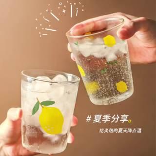 Cốc thủy tinh dễ thương ins yoholoo cốc nước cốc cà phê chịu nhiệt họa tiết trái cây hoạt hình, quà tặng trong suốt cốc sữa, cốc soda mùa hè - hình 1