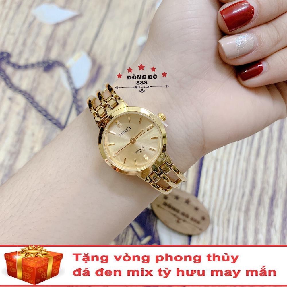 Đồng hồ nữ HALEI 5010 dây lắc thời trang ( HL5010 Dây vàng mặt vàng ) - TẶNG 1 vòng tỳ hưu phong thuỷ Nhật Bản