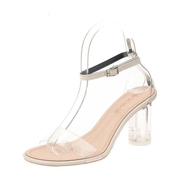 Mới Nhất Nữ Bơm Giày Người Nổi Tiếng Mang Phong Cách Đơn Giản Nhựa PVC Trong Suốt Thiết Kế Quai Khóa Giày Sandal Cao Gót Nữ Gợi Cảm Bán giỏi nhấtjkjk giá rẻ