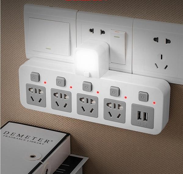 Bảng giá Phích cắm chống sét thông minh - ổ cắm có usb sạc điện thoại- đèn led ngủ công tắc riêng biệt Phong Vũ