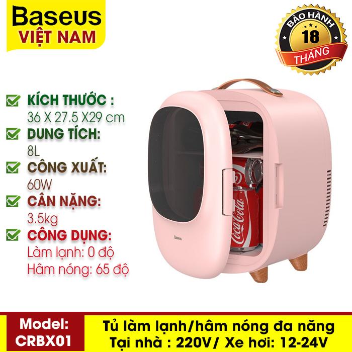 Tủ lạnh mini dung tích 8L, hai chế độ nóng / lạnh, sử dụng cho văn phòng, gia đình, dễ dàng mang đi du lịch, picnic - Thương hiệu Baseus - Phân phối bởi Baseus Vietnam