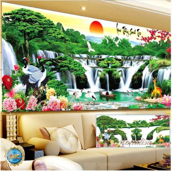 Tranh đính đá phong cảnh Lưu Thuỷ Sinh Tài Kích thước: 130x65cm