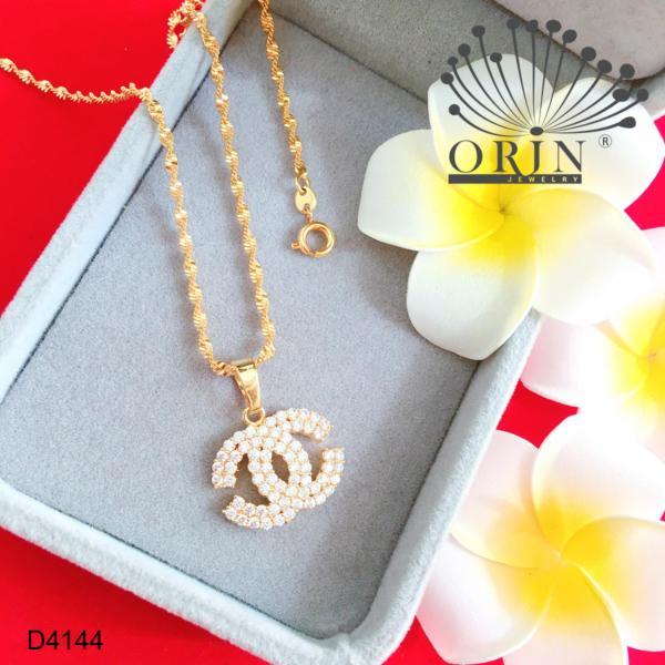 Dây chuyền nữ dạng xoắn mặt chữ 2 tiny đính đá thiết kế bền màu đẳng cấp Orin D4144