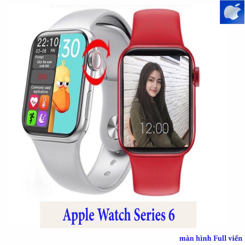 Đồng hồ thông minh Apple Watch series 6,  Đồng hồ thông minh chống nước series 6HW12, Thay Được Hình Nền Tùy Ý, Nghe Gọi Trực Tiếp, Thay Được Dây, Nút Xoay Digital Crown, Chống Nước, Tiếng Việt 100%, Nhận Thông Báo App,Màn Hình Tràn Viền