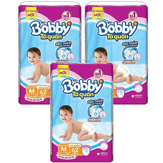 Tã quần Bobby Siêu thấm – Khô thoáng (gói cực đại: M62)