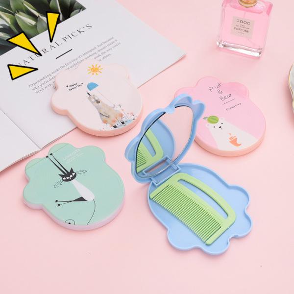 Gương Mini Kèm Lược Mini Cầm Tay Nhỏ Gọn Dễ Mang Theo Nhiều Màu và Hình Ngộ Nghĩnh Hot Trend
