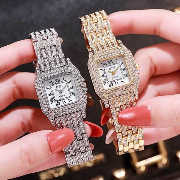 Nơi bán (Tặng kèm hộp và pin) Đồng hồ thời trang nữ DZG dây kim loại đính đá sang trọng