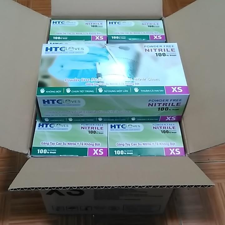 Thùng 10 hộp Găng Tay  ( bao tay ) Cao Su Y Tế Không Bôt  HTC Glove hộp 100 cái màu xanh