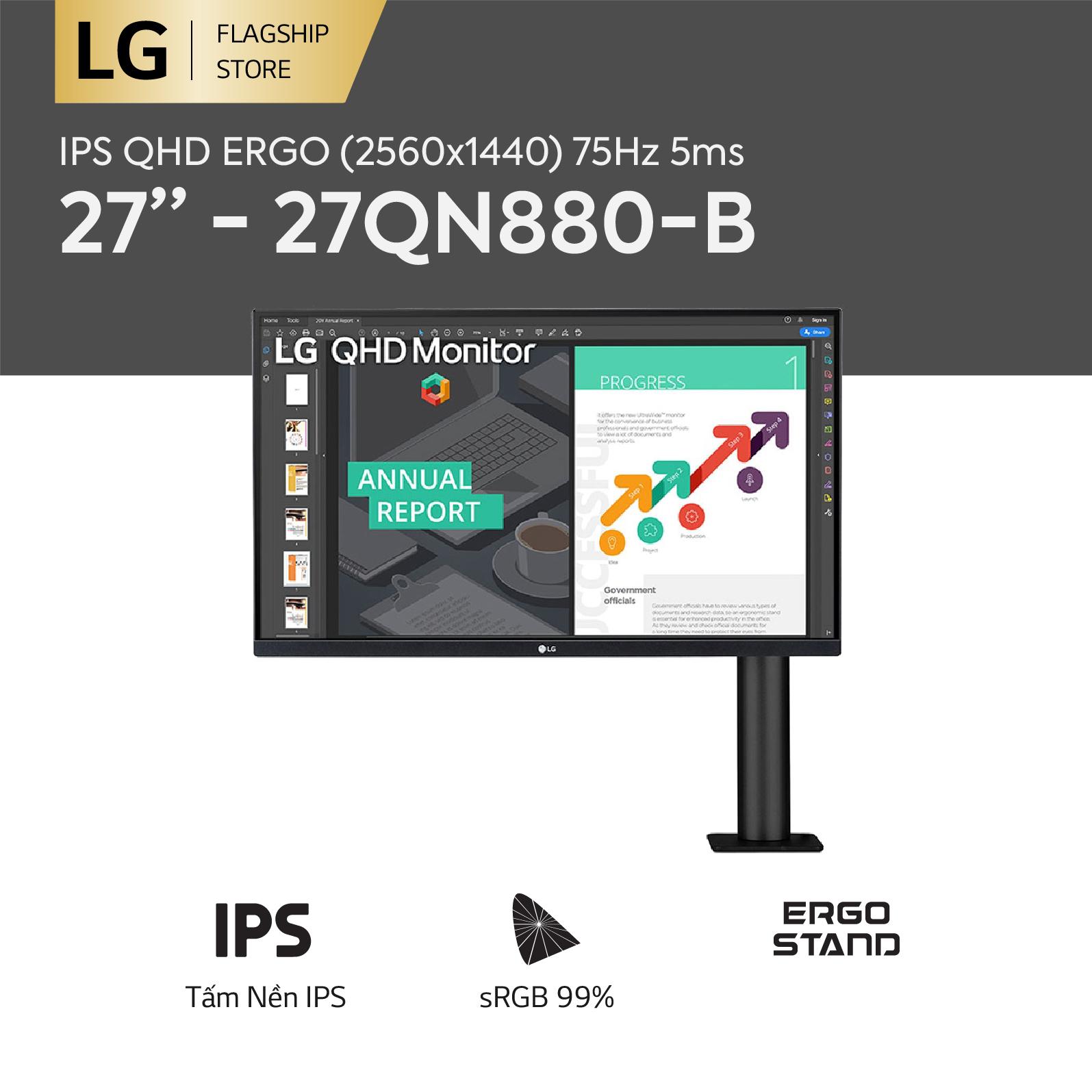 [TRẢ GÓP 0%] Màn hình máy tính LG IPS QHD ERGO (2560x1440) 75Hz 5ms 27 inches l 27QN880-B l HÀNG CHÍNH HÃNG