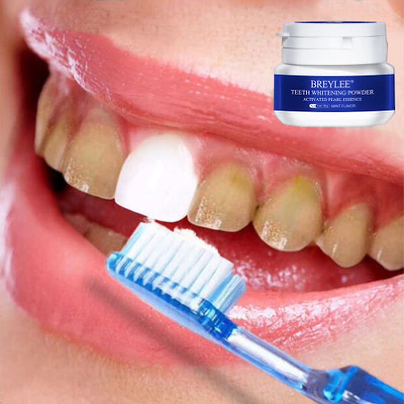 BREYLEE Bột Tẩy Trắng Răng Kem Đánh Răng Nha Khoa Dụng Cụ Răng Trắng Sạch Vệ Sinh Răng Miệng Bàn Chải Đánh Loại Bỏ Mảng Bám Vết Bẩn Teeth Whitening White Pearl Powder 30G giá rẻ