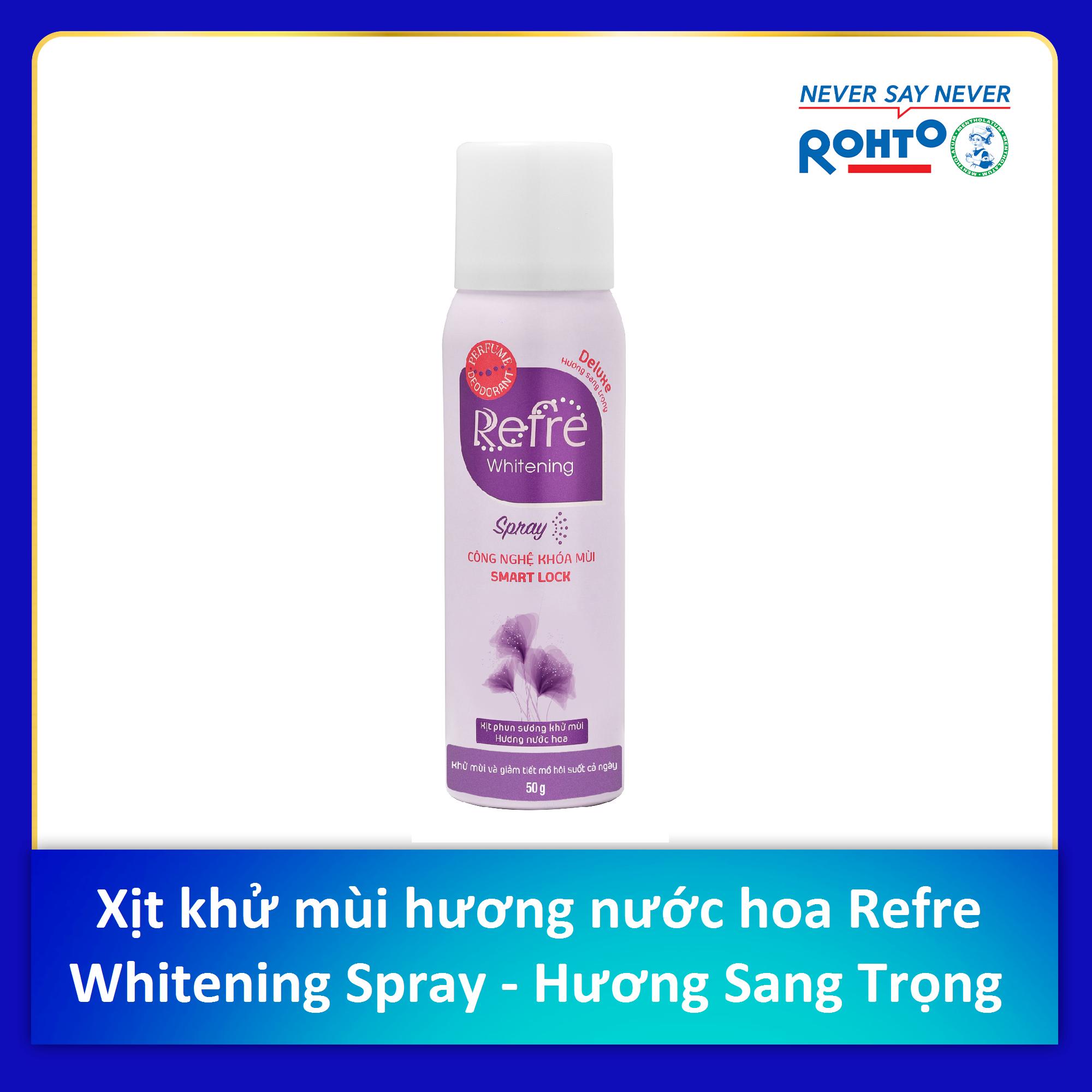 Xịt phun sương khử mùi dưỡng trắng hương nước hoa Refre Whitening Spray Deluxe Hương Sang Trọng (50g)