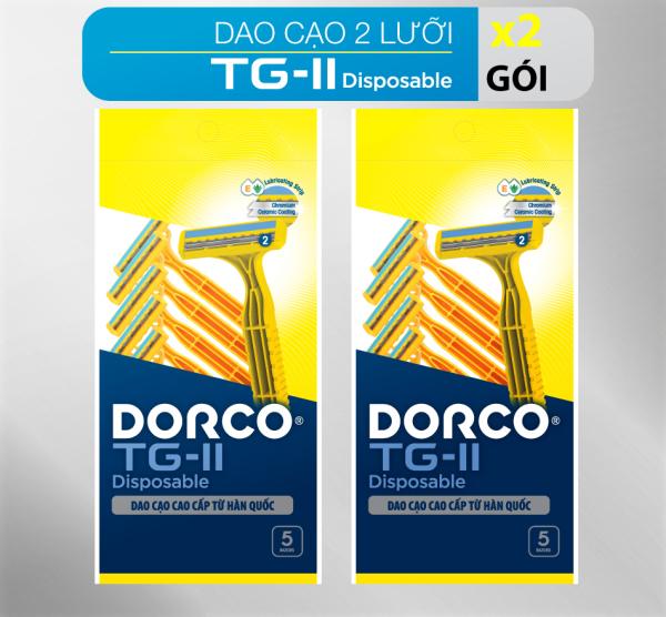 Combo 2 vỉ dao cạo râu 2 lưỡi DORCO TG710 (gói 05 dao cạo)