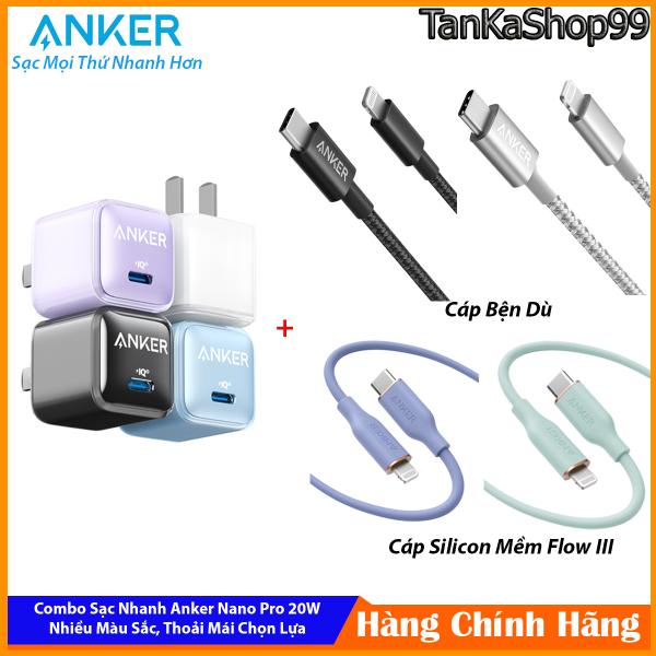 Combo Sạc Nhanh Anker Nano Pro 20W A2637 Cho iPhone, Phiên Bản Pro Nhiều Màu Sắc