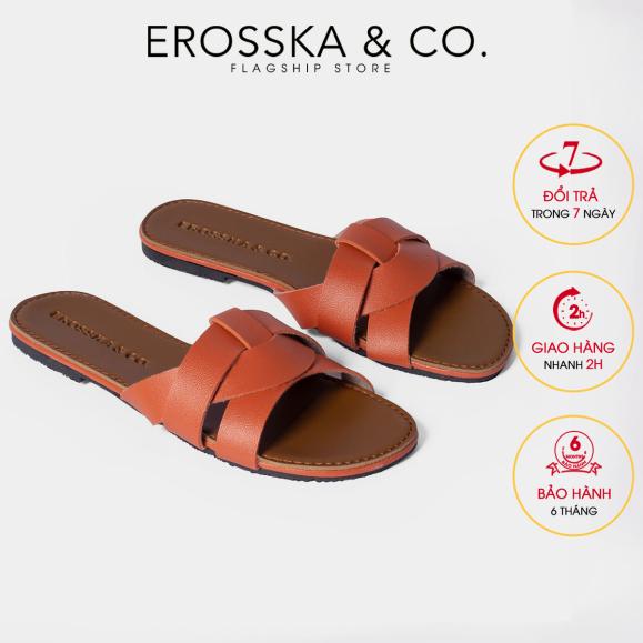 Dép đi biển thời trang Erosska 2021 quai ngang đan chéo đế bệt DE028 (OR) giá rẻ