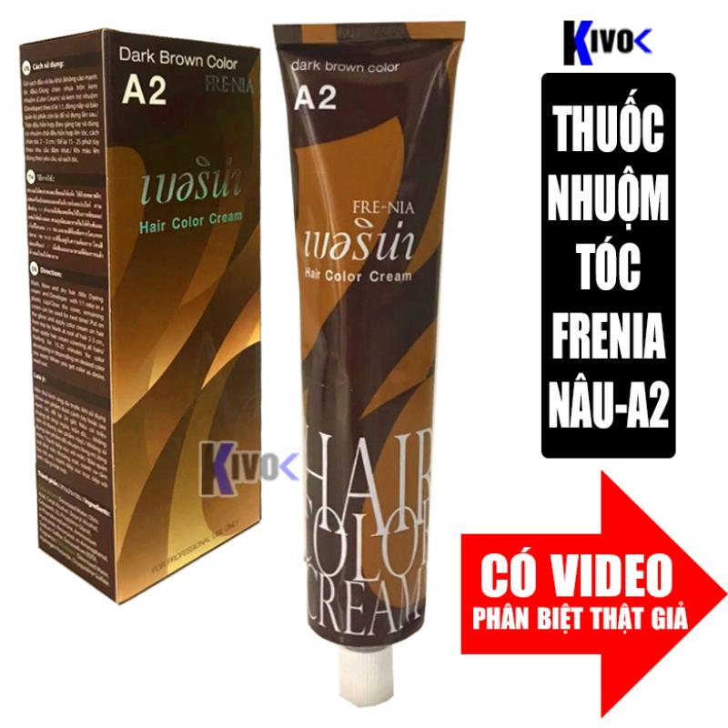 Thuốc Nhuộm Tóc Màu Nâu Lạnh Thái Lan A2 - Kem Nhuộm Tóc Phủ Bạc + Thuốc Trợ Nhuộm Tóc FRENIA - Kivo cao cấp