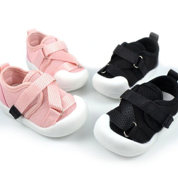 Giày thể thao cho bé trai và bé gái sơ sinh (0-18 tháng) mới tập đi hình khỉ con đáng yêu làm bằng vải bông mềm đế cao su không đau chân, chống trượt