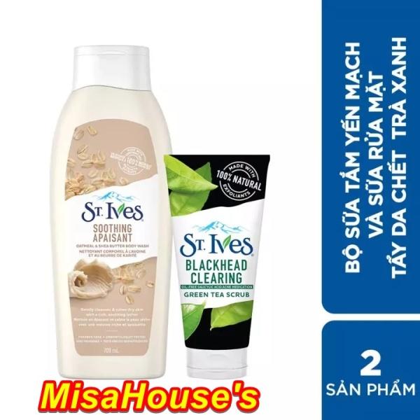 Combo Sữa tắm St.Ives Chiết Xuất Yến Mạch và Bơ 709ml và Sữa rửa mặt tẩy tế bào da chết St.Ives Trà
