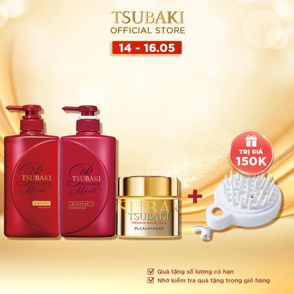 Bộ gội xả Tsubaki dưỡng tóc bóng mượt và mặt nạ tóc cao cấp phục hồi hư tổn