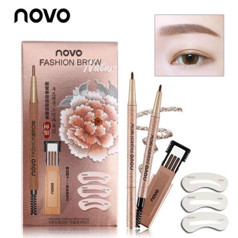 Chì Kẻ Mày Novo Fashion Brow Tặng Kèm 3 Lõi Thay Thế Và Khuôn Kẻ Mày cao cấp