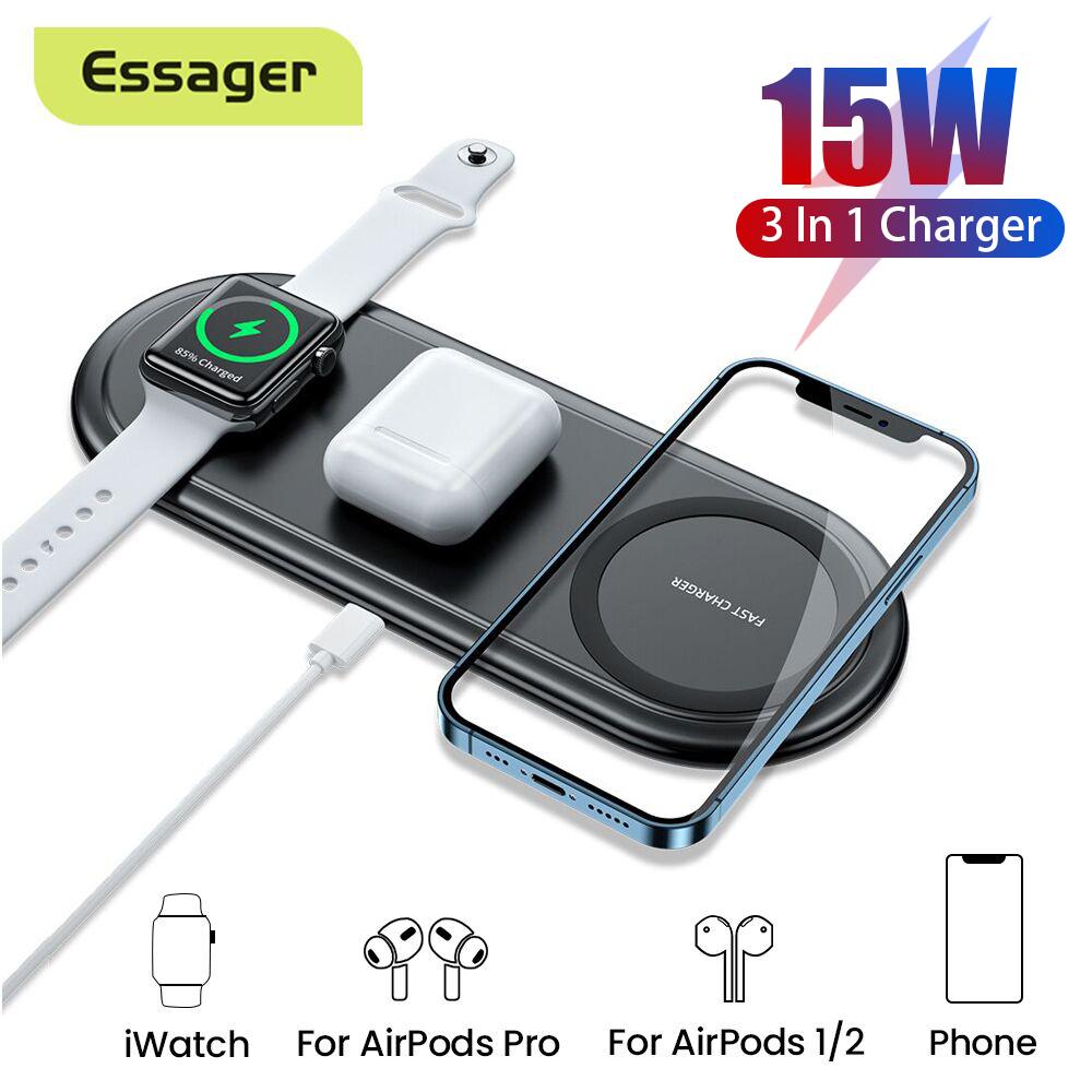 Essager bộ sạc không dây ô tô 10w qi cho iphone 11 pro max samsung s20  xiaomi mi cảm ứng sạc không dây nhanh với giá đỡ điện thoại trên ô tô -