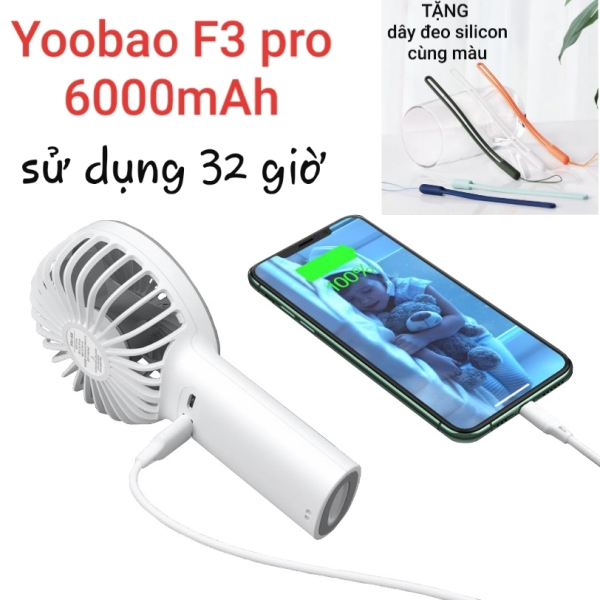 Quạt tích điện kiêm sạc dự phòng 2in1 Yoobao F3 Pro 6000mAh, tặng dây đeo tay silicon cùng màu