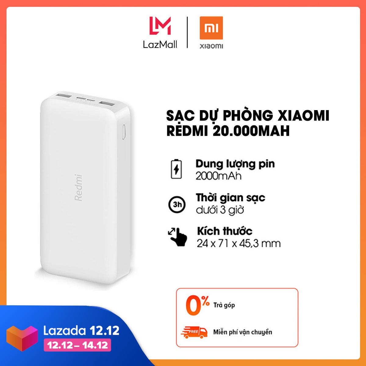 Sạc dự phòng Xiaomi Redmi 20.000mAh l Sạc nhanh Max 18W l Input: Micro USB & Type-C / Output: USB-A x2 l HÀNG CHÍNH HÃNG