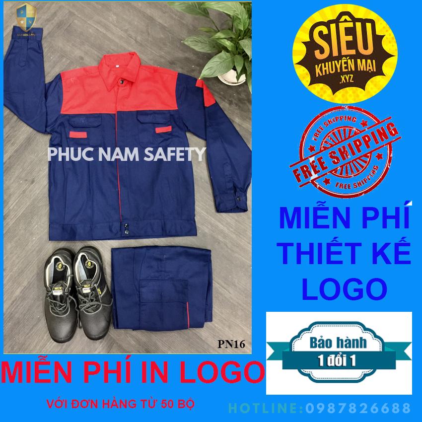 Quần áo bảo hộ lao động, Quần áo bảo hộ lao động PN16 tím than phối đỏ, Bảo hộ lao động Phúc nam