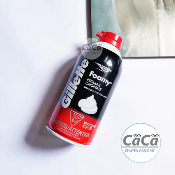 [Chính hãng] Kem Bọt Cạo Râu GILLETTE 311g Foamy Regular Originale - Đỏ không mùi USA - Mỹ giá rẻ