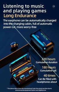 Tai Nghe Bluetooth Không Dây F95 Nhét Tai Pin 3500 maH Micro HD, Chống Nước - Tai nghe bluetooth pin trâu - Tai nghe nhét tai không dây - Tai nghe không dây pin trâu 4