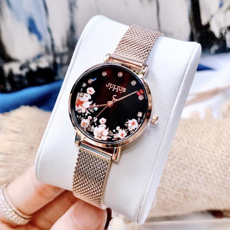 Đồng hồ nữ Julius Hàn Quốc JA-1164LG dây thép mặt số in hoa