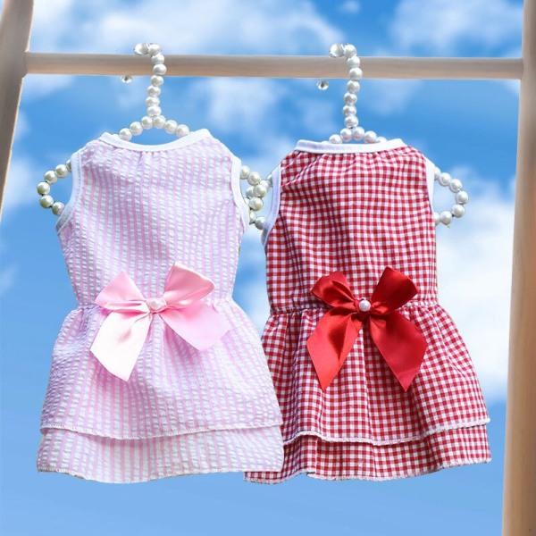 váy cho thú cưng -  trang phục dự tiệc tiểu thư bánh bèo cho chó mèo váy đầm xọc caro có nơ phía sau