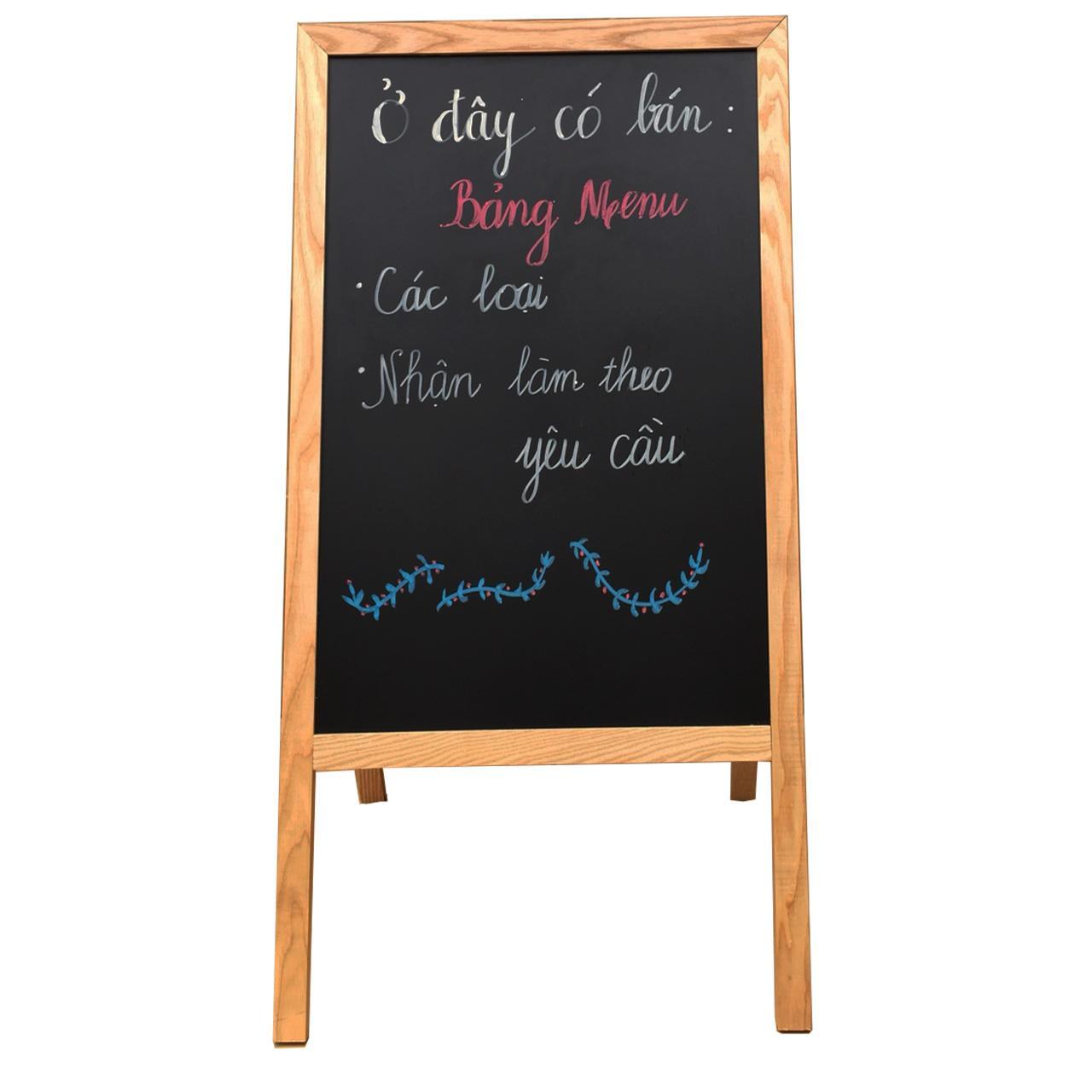 Mua Bảng menu nhà hàng chân gỗ gấp 60*120cm (Tặng bút dạ quang, hộp phấn)