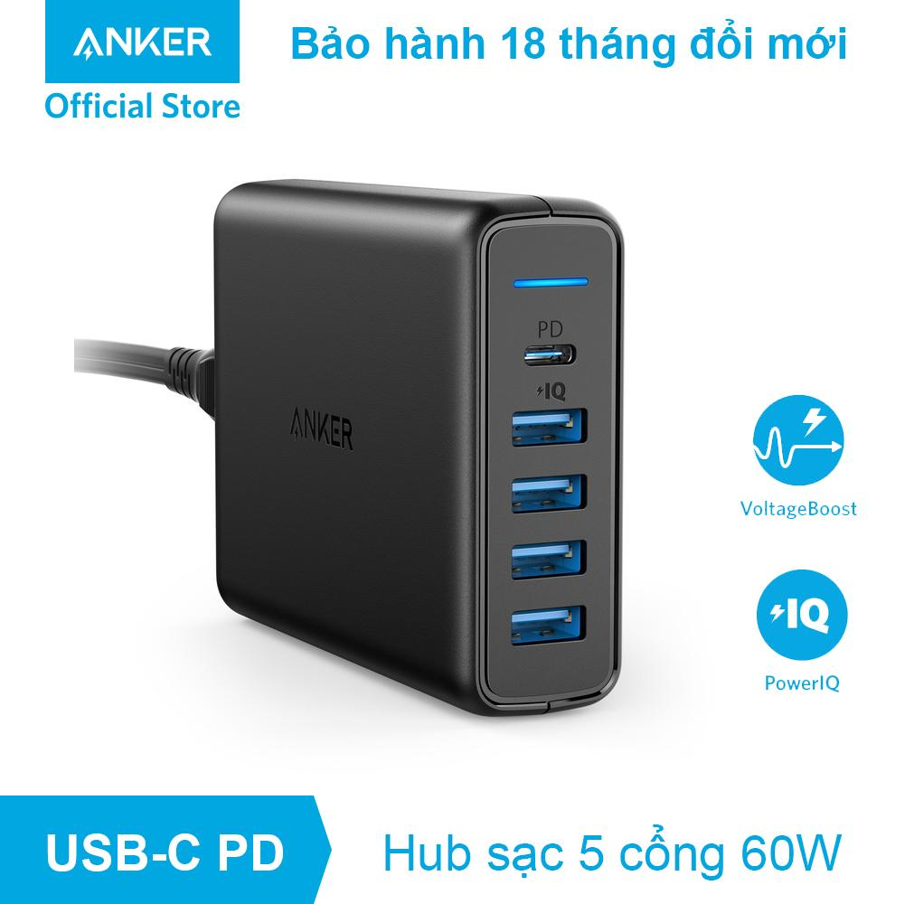 Sạc ANKER PowerPort+ 5 cổng 60w với cổng USB-C Power Delivery - A2056
