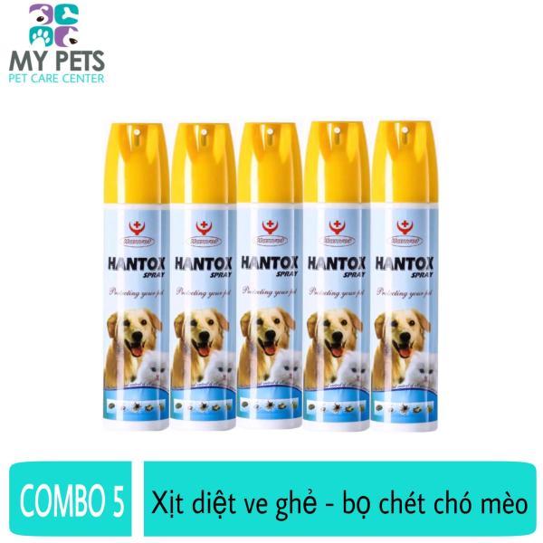 (COMBO 5 CHAI) Thuốc xịt diệt ve ghẻ, bọ chét cho chó mèo - Hantox Spray 300ml