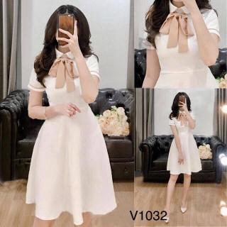 Váy Đầm nữ xòe dự tiệc kèm nơ cổ thanh lịch - Đầm trắng TOMB thumbnail