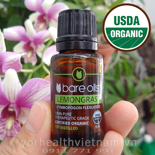 Tinh dầu sả chanh - Lemongrass Essential Oil (Tinh dầu hữu cơ Bare Oils - USDA Organic) 15ml