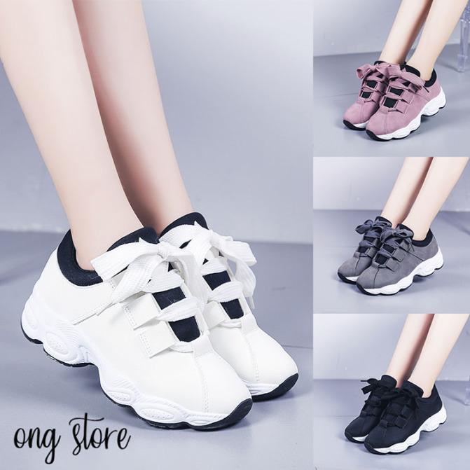 Giày thể thao nữ đế sóng phong cách Hàn Quốc (dây to) giá rẻ