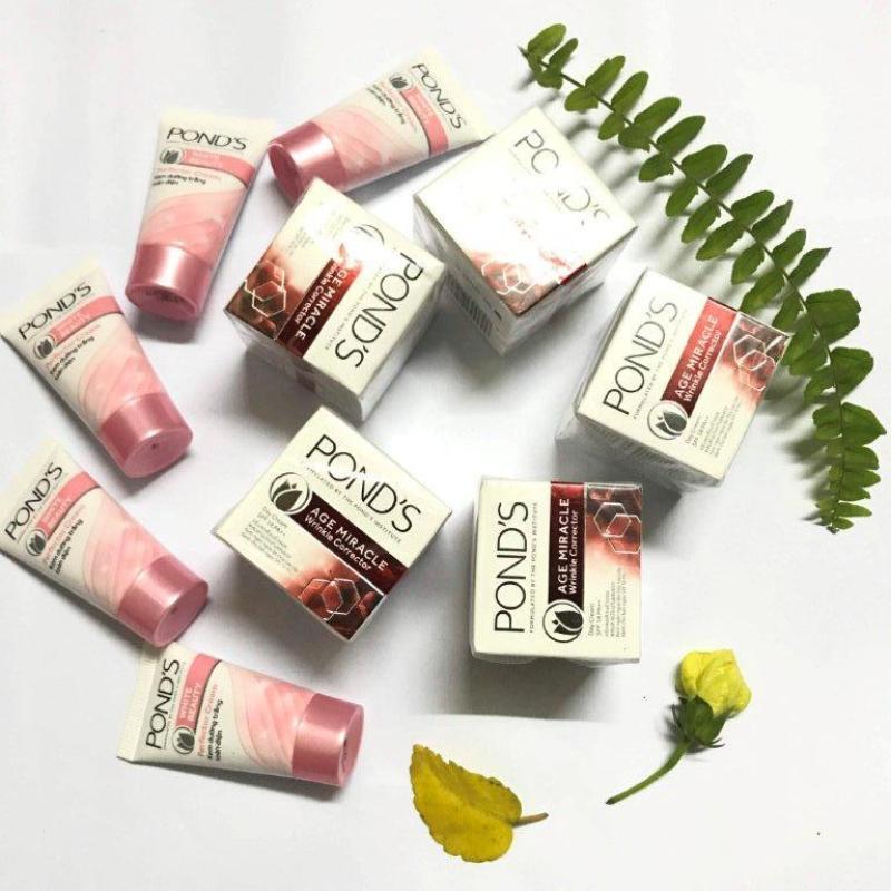 Trọn bộ 20 sản phẩm : 10 Ponds dưỡng trắng (8g/tuýt) + 10 Ponds ngăn ngừa lão hóa (10g/hộp) + tặng 1 túi đựng mỹ phẩm xinh xắn