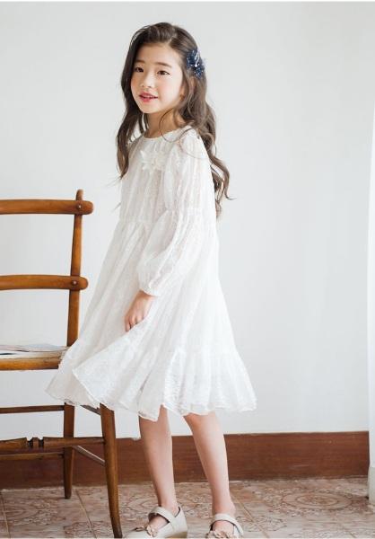 Nơi bán Váy công chúa ren hoa trắng V36 cho bé gái