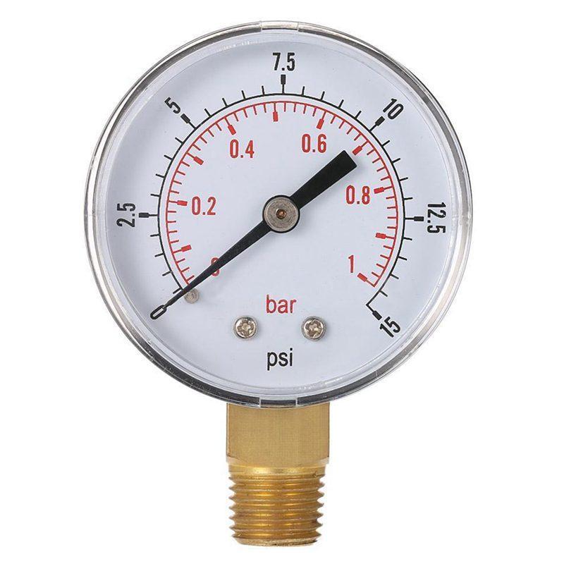 0~1bar 50mm Water Pressure Gauge Meter 1/4 inch NPT Thread Manometer TS-50-15psi