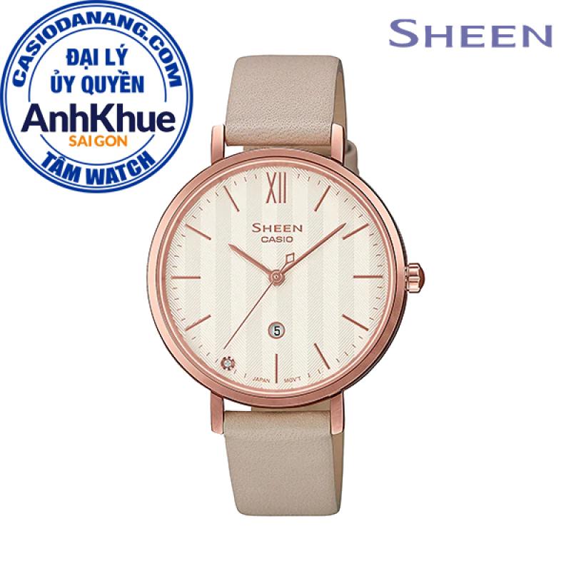 Đồng hồ nữ dây da Casio Sheen chính hãng Anh Khuê SHE-4539CGL-7AUDF (34mm)