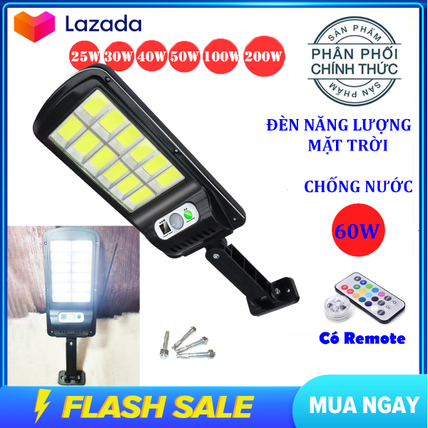 (Bảo hành 12 tháng) Đèn năng lượng mặt trời 60w 12 ô đèn led , đèn led năng lượng mặt trời gắn cột , gắn tường,đèn năng lượng mặt trời chống nước tuyệt đối