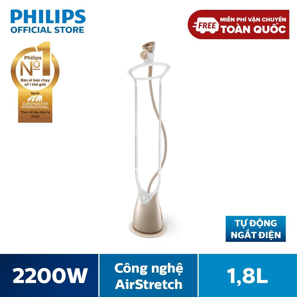 Bàn Ủi Hơi Nước Đứng Philips GC576 2200W (Vàng đồng) -5 chế độ hơi phun- Công nghệ đầu hút AirStretch - Mặt đế ủi hơi nước SmartFlow - Hàng phân phối chính hãng