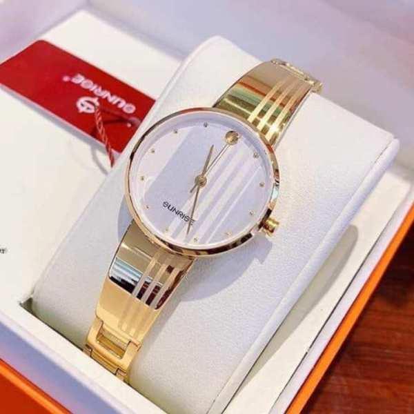 Đồng hồ Nữ Sunrise 9925SA mặt trắng full hộp, kính saphire chống xước, chống nước tốt