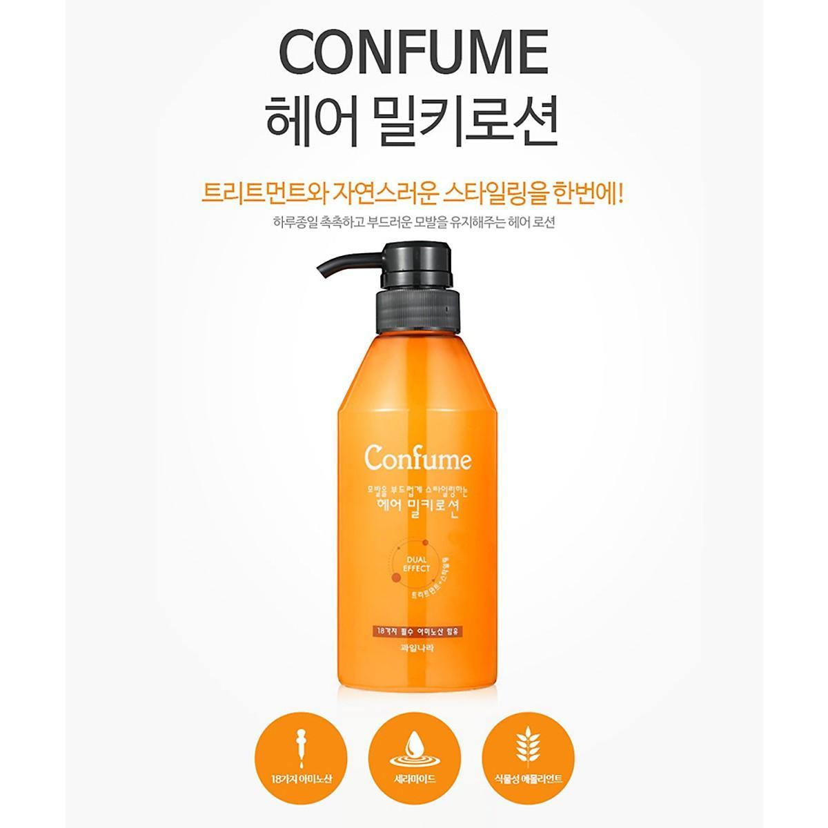 Dầu Xả khô dưỡng và tạo kiểu Tóc Confume Hair Lotion Hàn Quốc 400ml nhập khẩu