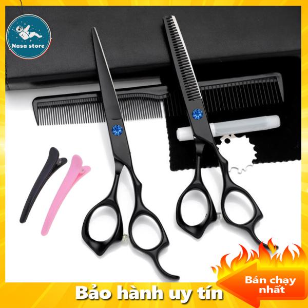 Bộ kéo cắt tóc, Bộ kéo cắt tỉa tóc sơn đen, Kéo cắt và kéo tỉa tóc cao cấp, chuyên nghiệp, chất liệu bằng thép không gỉ, TẶNG kèm phụ kiện và phần quà đặc biệt giá rẻ