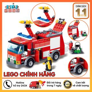 Đồ chơi lego, Lego xe cứu hỏa 206 chi tiết đồ chơi cho bé. chất liệu nhựa ABS an toàn cho bé thumbnail