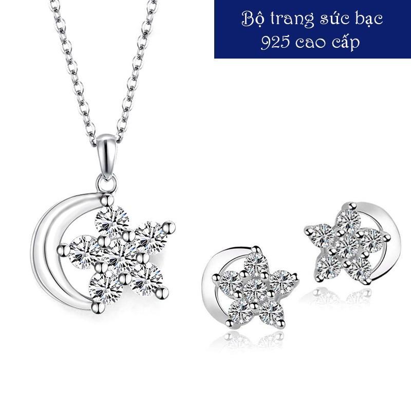 Bộ trang sức Vũ khúc tình yêu bạc 925 cao cấp, dây chuyền bông tai bạc nữ, bộ trang sức đính đá MDL-BTS05