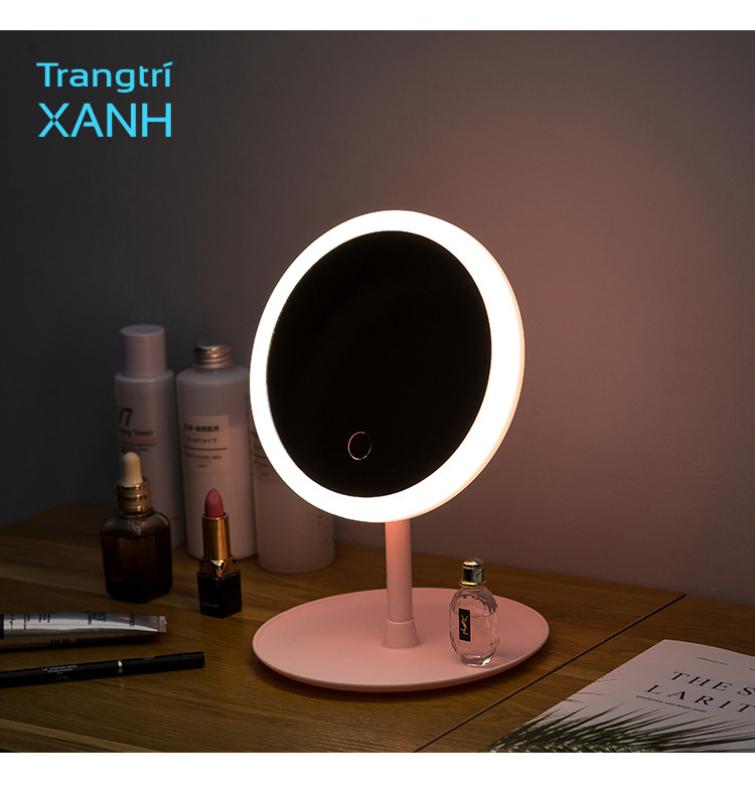 Gương tròn trang điểm để bàn, led điều chỉnh 3 màu