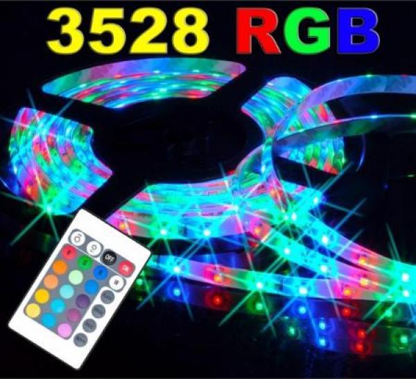 Bộ đèn Led dây 5m 12V - 3528RGB trang trí cửa hàng + Nguồn + Khiển
